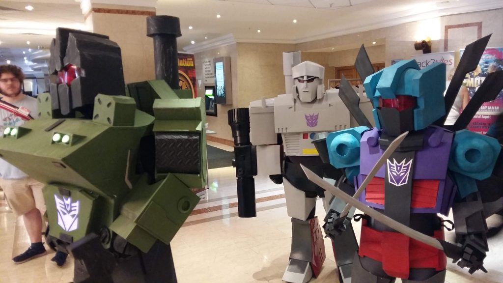 Brawl, Megatron, and Vortex cosplays